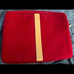 Coach red laptop sleeve In Signature canvas